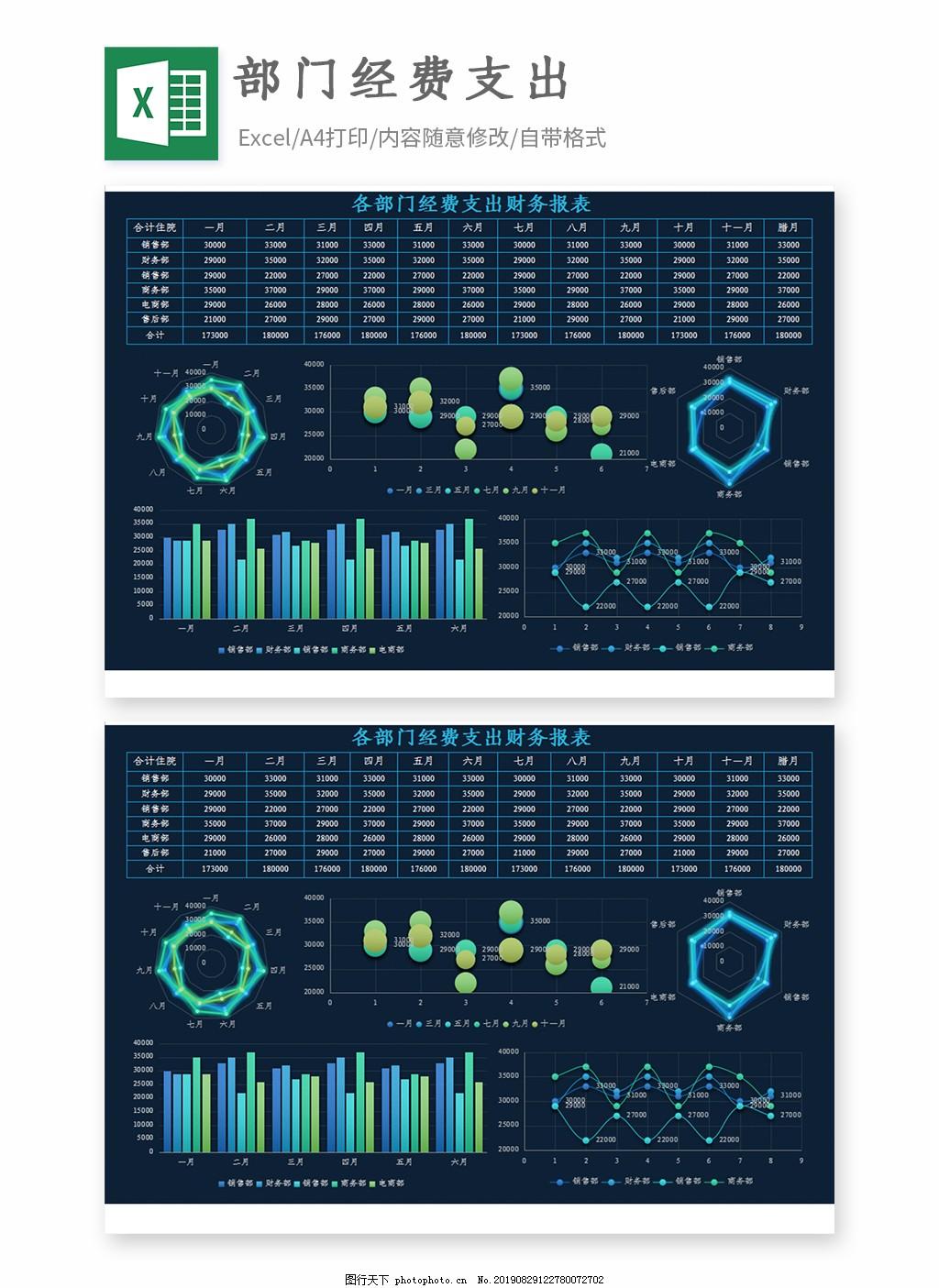 银行贷款工资单格式_部门经费支出财务报表Excel模板图片_人力资源_Excel模板-图行天下 ...